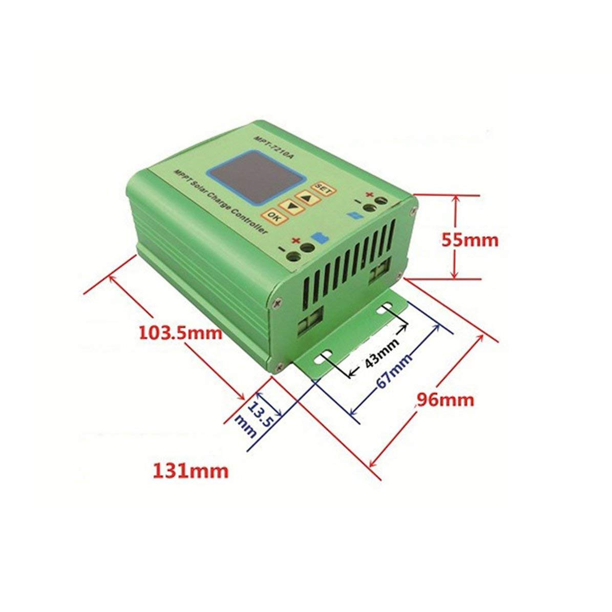 Corneliaa-UK MPT-7210A Solar Charge Controller Back-light MPPT Battery Charger Regulator