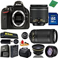 Great Value Bundle for D5200 DSLR – 18-55mm AF-P + 70-300mm AF-P + 32GB Memory + Wide Angle + Telephoto Lens + Case