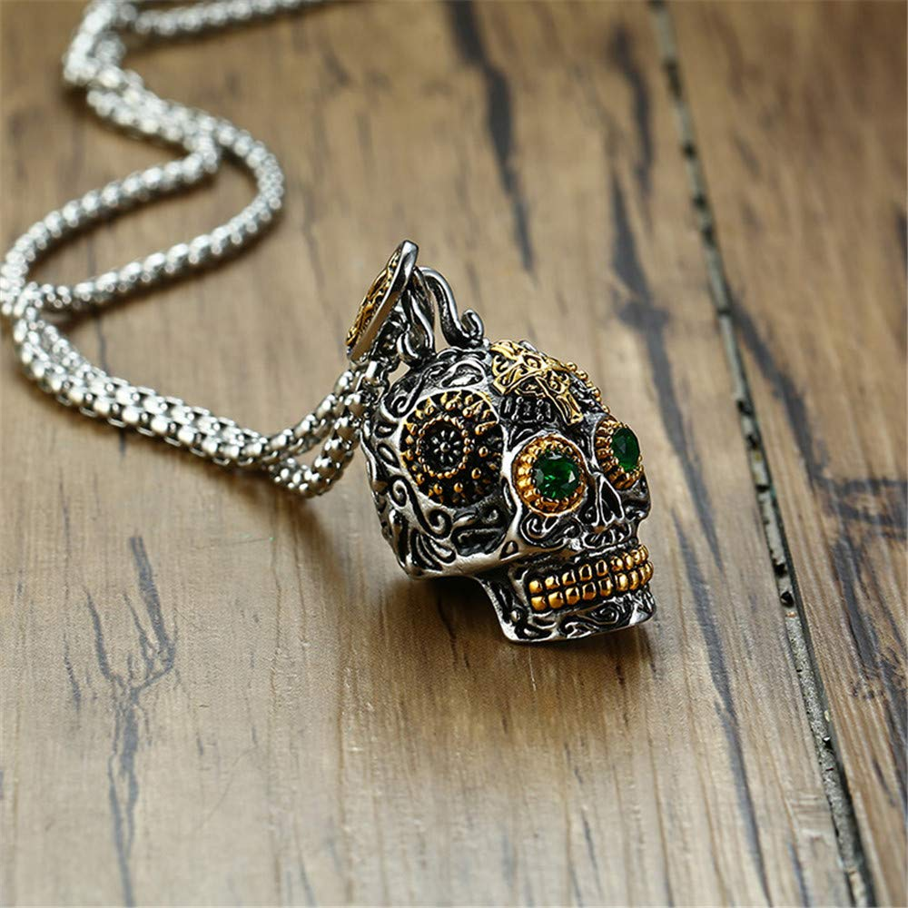 INRENG Stainless Steel Sugar Skull Pendant Necklace Gothic Skeleton Pendants for Men with 24inch Chain