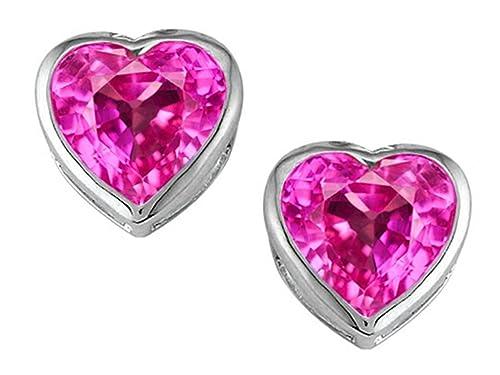 Star K Sterling Silver Heart Shape 7mm Heart Earring Studs