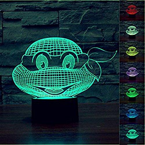SUPERNIUDB Romantic 3D Turtle Night Light 7 Color Change LED Desk Table Lamp
