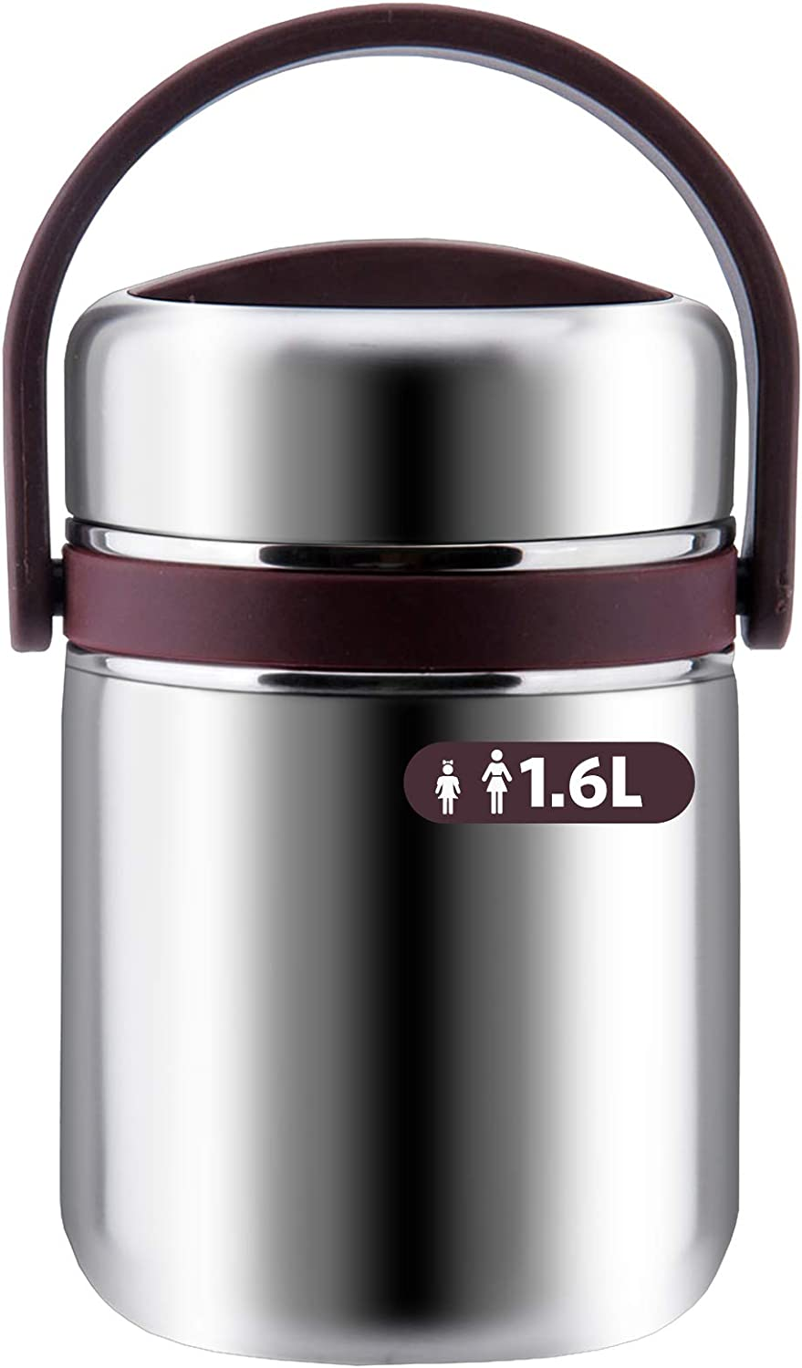 Soup Thermos Wide Mouth,3 Tier Food Thermos Jar, Leakproof Vacuum Bento Lunch Box Food Carrier 304 Stainless Steel Insulated Thermos Food Container Storage Carrier (1.6L-53 OZ, Coffee)