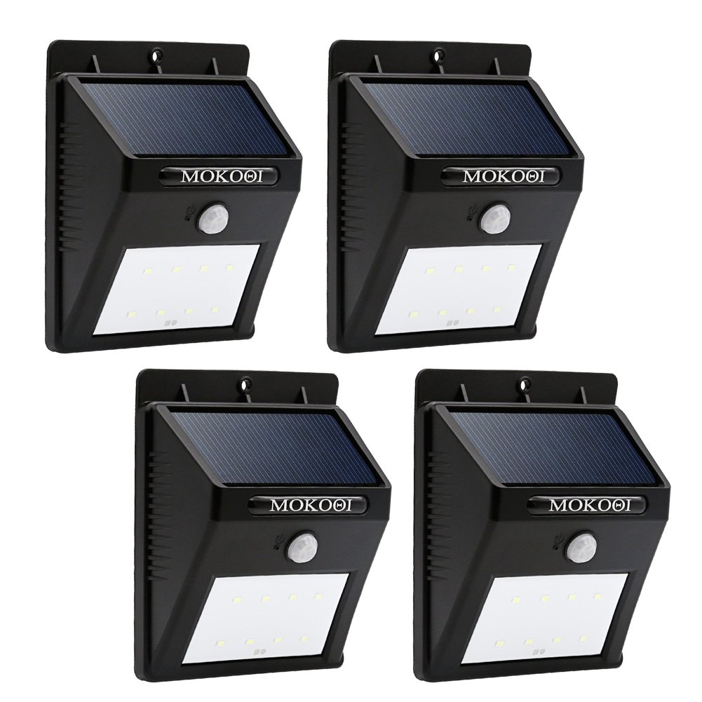 MOKOQI 8 LED屋外ソーラーPowerd、ワイヤレス防水セキュリティモーションセンサーライト、パティオ、デッキ、庭、ガーデン、私道、外壁with 2モードMotion Activated自動on/off 4 Pack FBA_MOKOQI-SLO001-4 B019SVM7GG  4 Pack