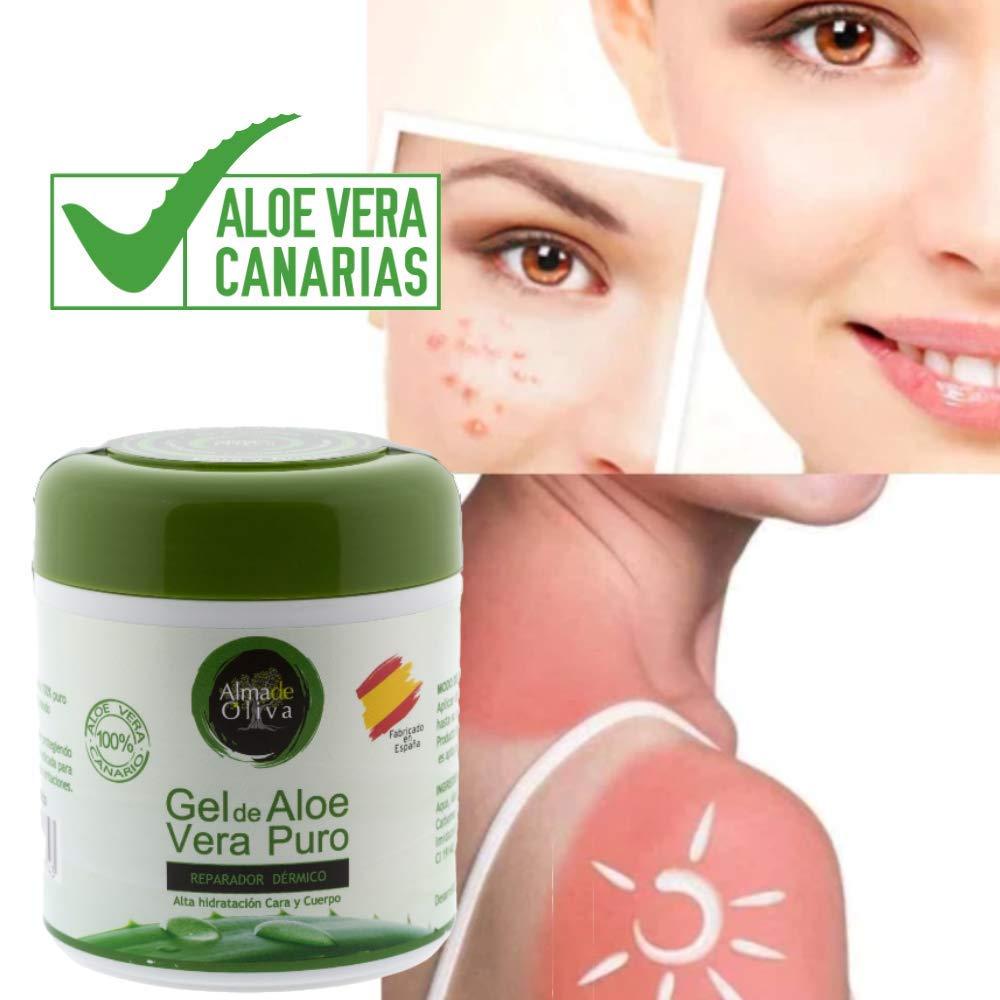 Gel Aloe vera puro 100% de Canarias crema hidratante natural 500 ml para la piel irritada por el depilado y afeitado/Quemaduras solares y picadura de ...