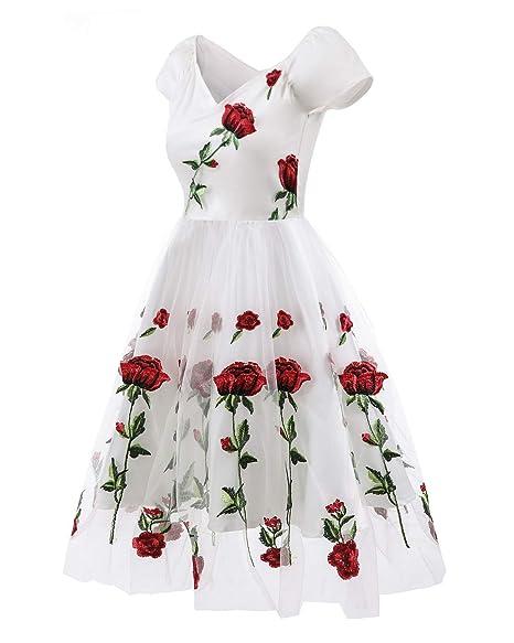 7f813433b444e HaoHuodress Donna Spalla Vintage Ricamo Rosa 1950s Rockabilly Abito da Sera  Pizzo Swing Linea ad a Vestito  Amazon.it  Abbigliamento