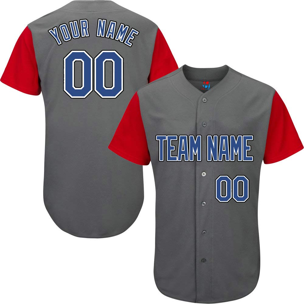 Pullonsy Gray/Red League Custom Baseball Jersey for Youth Embroidered Letters,Blue-Black Size S by Pullonsy
