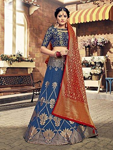 Etnici Tradizionali Lehenga Indiano Facioun Designer Choli Partywear Da Blu qISXz