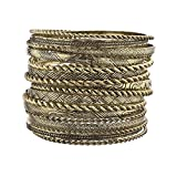 Lux Accessories Flower Mixed Metal Aztec Multi Bangle Set of 19