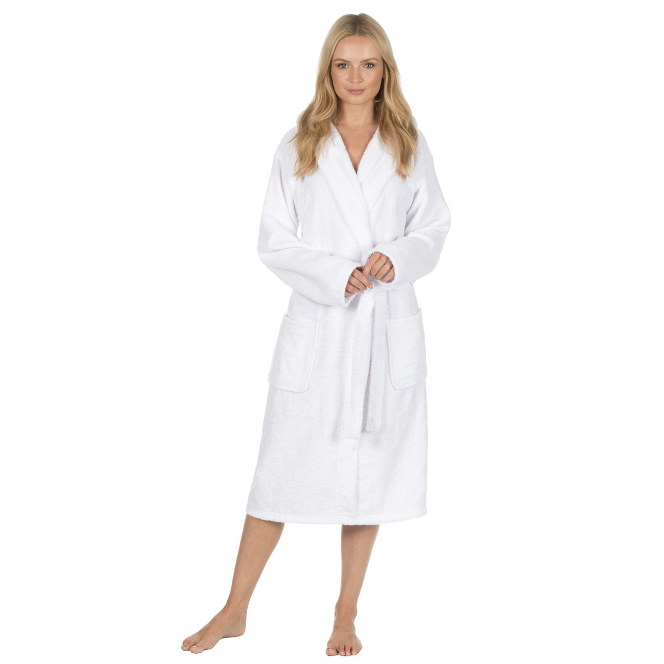 Forever Dreaming Ladies 100/% Cotton Terry Towelling Hooded Robe