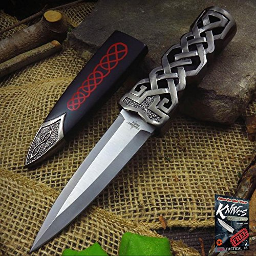 "NEW! 9"" Green Jewel Ceremonial Celtic Fantasy Dagger Elite Knife w/ Scabbard + free eBook by ProTactical'US"
