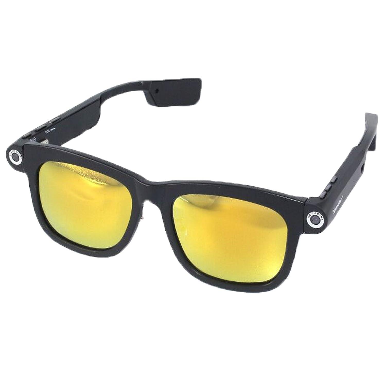 1280x720p CSR4.0 Bluetooth 8GB TFカード 内蔵 ビデオメガネネ サングラス UV400 偏光 サングラス (8G-Yellow) B078NZ8X73 8G-Yellow 8G-Yellow