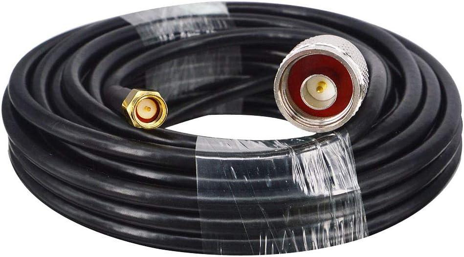 Cable de extensión coaxial RG58 de alto rendimiento con baja pérdida con flexibilidad, SMA macho a N macho, antenas tipo N. 5 m