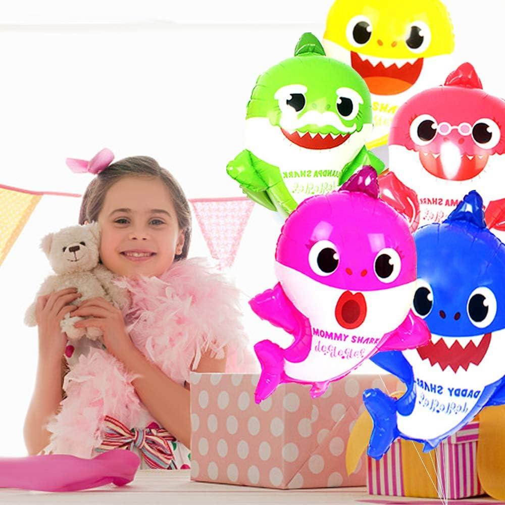 para el Primer cumplea/ños Estandarte con Forma de tibur/ón boogift Baby Shark Party Supplies Decoraciones Globos de Aluminio Baby Shower,Globos de l/ámina de tibur/ón para beb/és Baby Shower