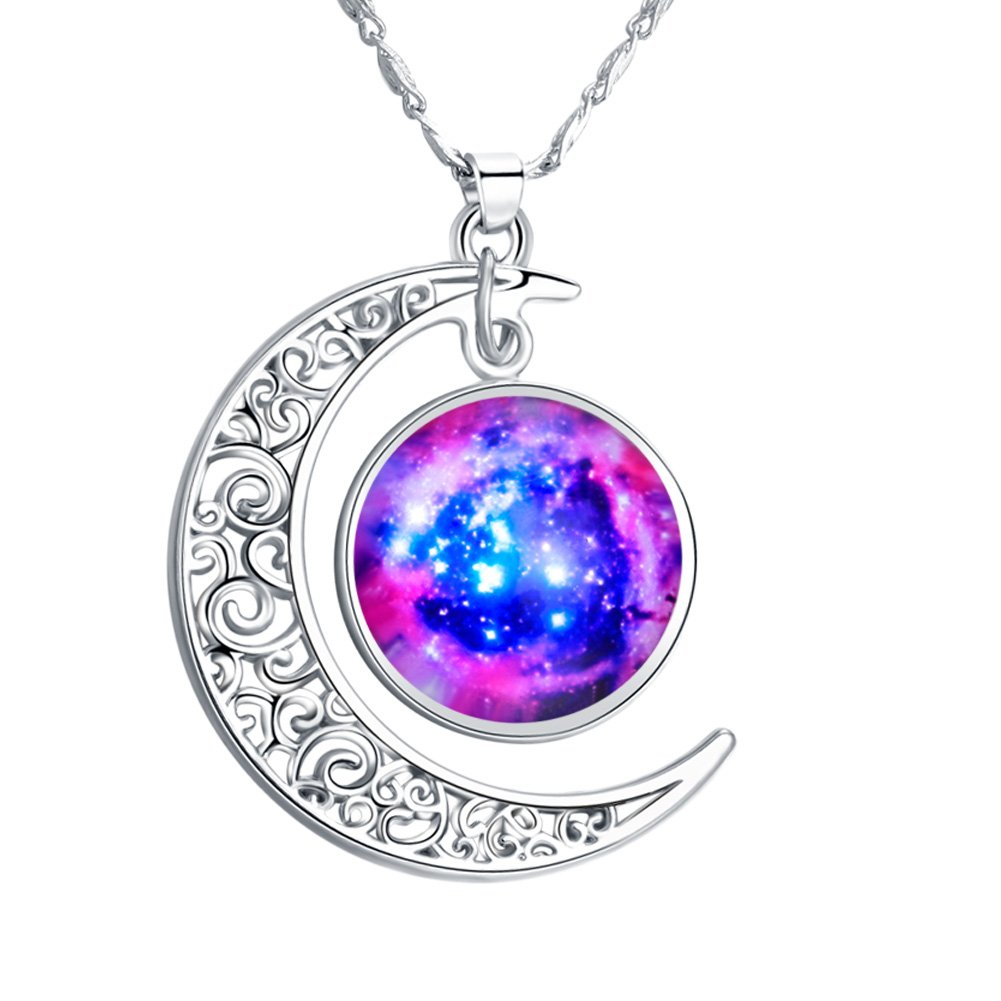 FANSING Fashion Jewelry Ultra Violet Universe Space Planet Galaxy Crescent Star Galactic Cosmic Moon Charm Necklaces for Women & Girls