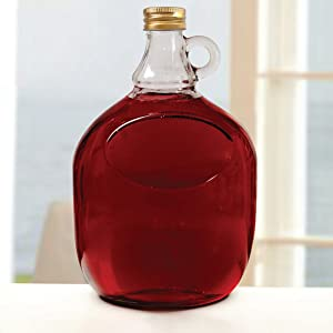 Circleware Moonshine Glass Growler Jug Bottle with Handle and Gold Metal Cap Beverage Dispenser Glassware for Beer, Wine, Liquor & Kitchen Drinking Gifts, 2 Liter, Clear