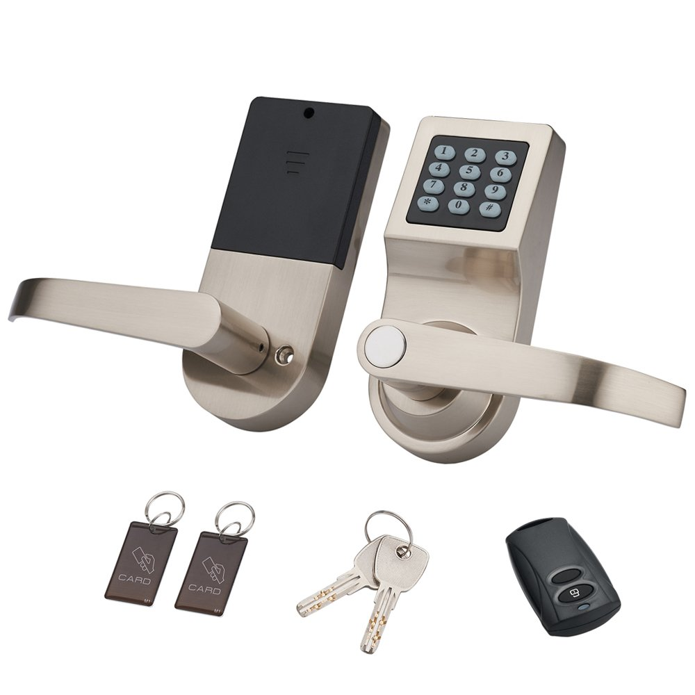 HENYIN Digital Door Lock,Unlock with M1 Card, Code and Key,Handle Direction Reversible (card+remote) by HENYIN
