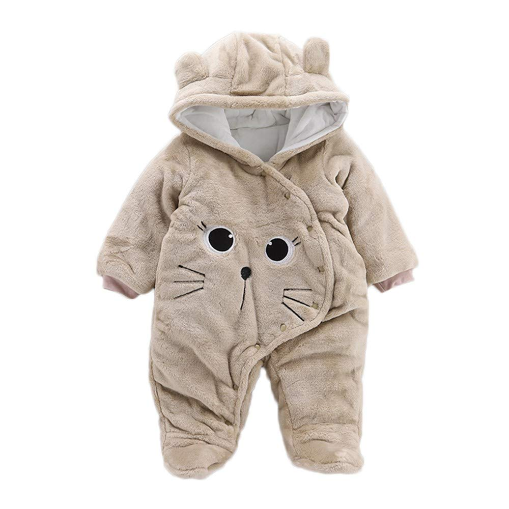 Zerototens Kids Hooded Romper, Autumn Winter Newborn Baby Girls Boys Solid Color Thick Velvet Cartoon Cat Print Jumpsuit Fleece Outwear Clothes for 0-2 Years Old Children