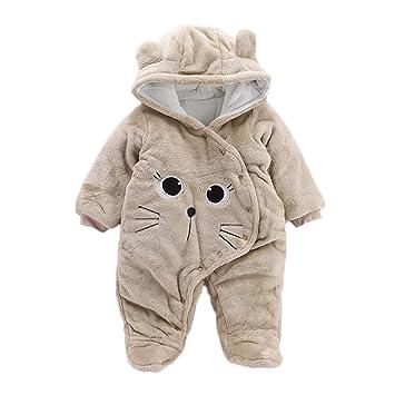 Newborn Baby Girl Boy Winter Warm Clothes Bear Velvet Hooded Jumpsuit Romper