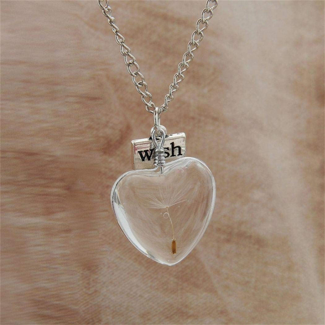 Qiopes 17.7 inch Dandelion Necklace Clear Glass Crystal Ball Wish Pendant Long Chain Lover Gifts Pendant