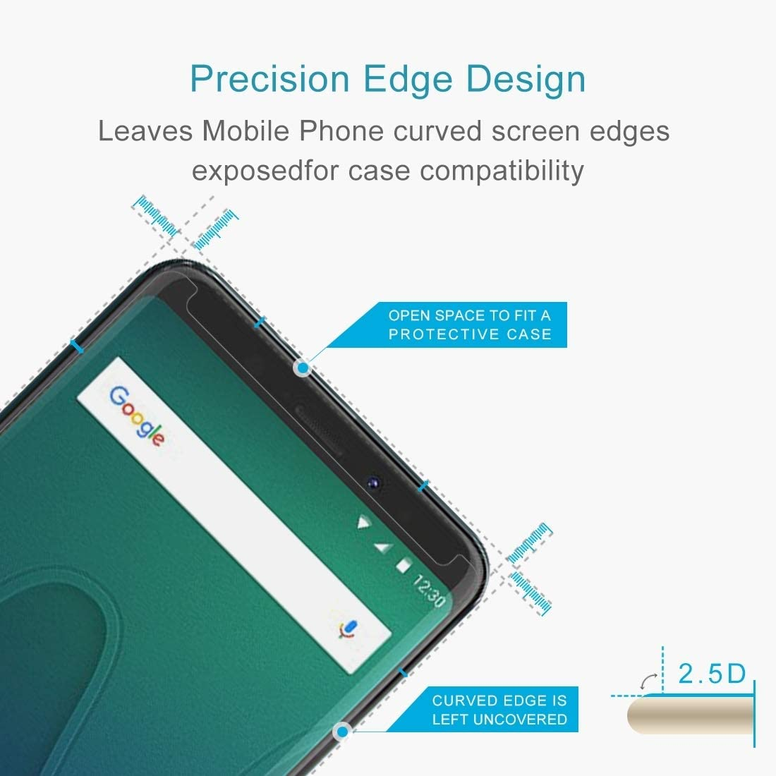 Wangl Mobile Phone Tempered Glass Film 50 PCS for Wiko View XL 0.26mm 9H Surface Hardness 2.5D Curved Edge Tempered Glass Front Screen Protector Tempered Glass Film