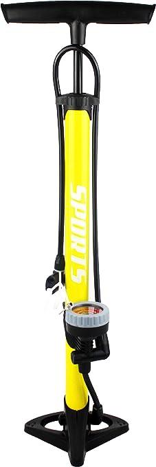 EM BIKE Bomba Inflador de Suelo Portátil con Manómetro Profesional para Válvulas Presta y Schrader Alta Presión (160 PSI/ 11 Bar)