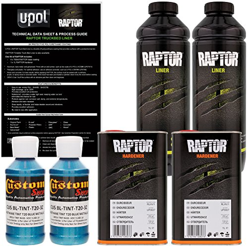 U-Pol Raptor Blue Metallic Urethane Spray-On Truck Bed Liner & Texture Coating, 2 Liters (Liner Best Truck Bed)