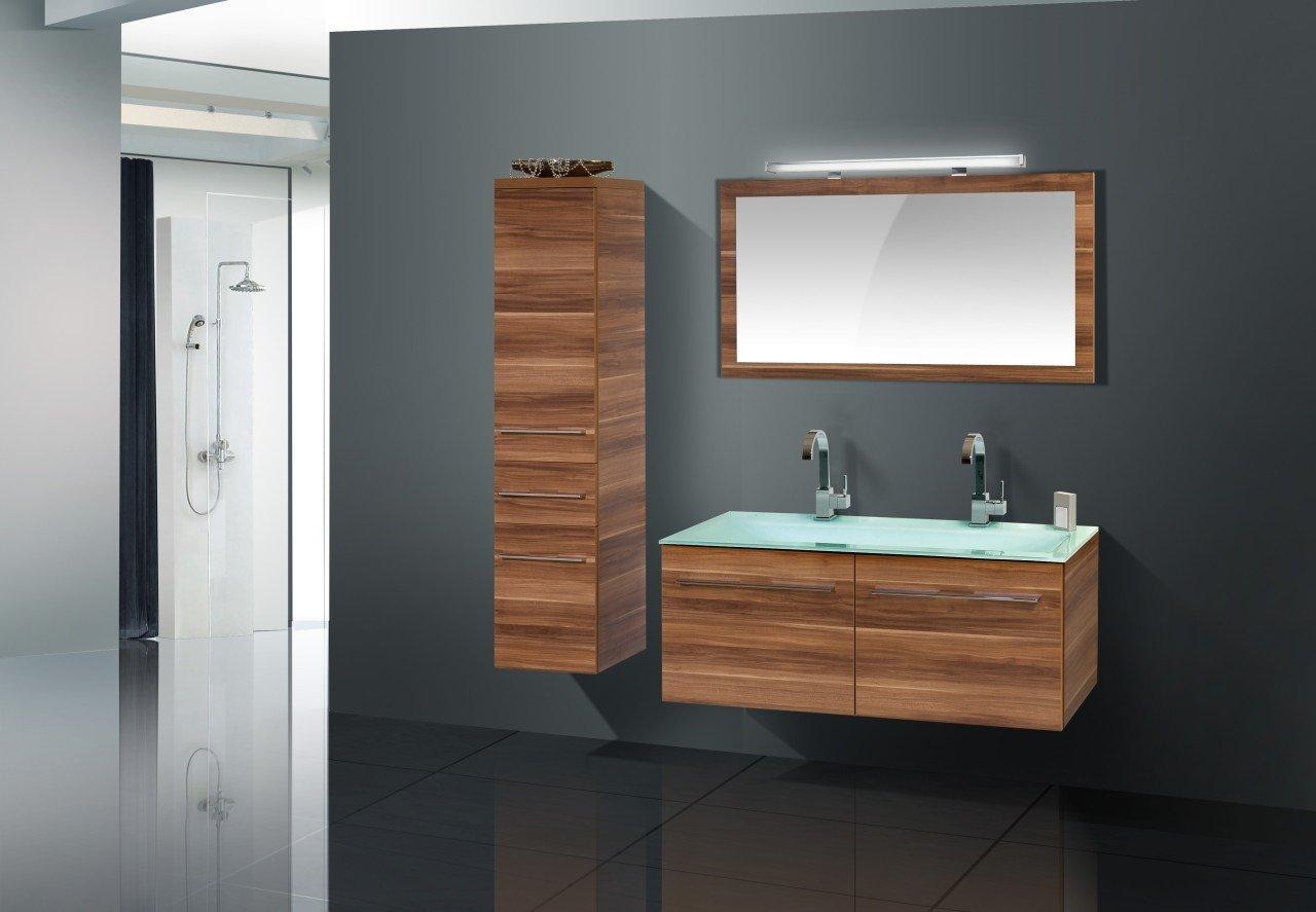 Badmöbel set doppelwaschbecken  Badmöbel Set mit Glas - Doppelwaschtisch 120 cm: Amazon.de: Küche ...