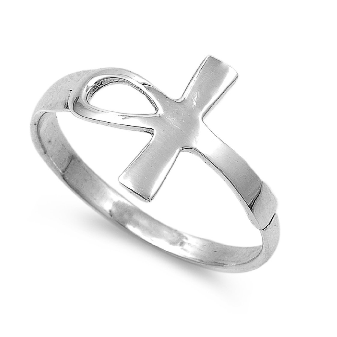 CloseoutWarehouse Sterling Silver Protection from Harm Ankh Cross Ring Size 11