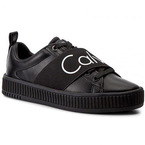 bbaf45e3775424 Calvin Klein donna sneakers nere R0658 Antonia scarpe in pelle inverno  2018, eu 39