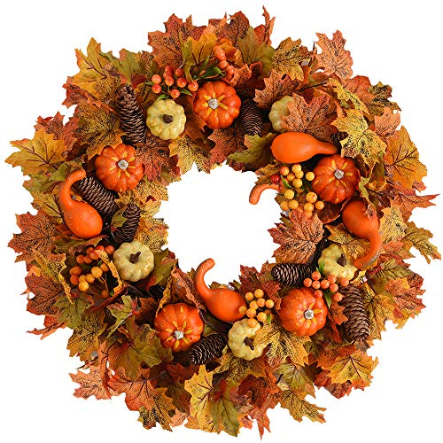 WANNA-CUL 24 inch Fall Wreath for Front Door with Pumpkin, Pine Cone,Berries, Maple Leaves, Harvest Wreath for Fall and Thanksgiving Decorations