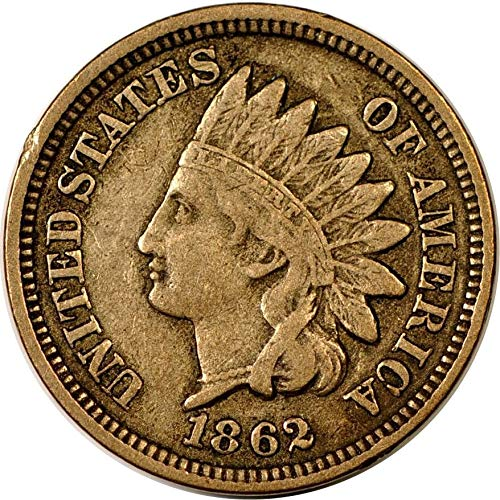 - 1862 U.S. Copper Nickel Indian Head Cent Full LIBERTY Full Rim 1c Fine to XF