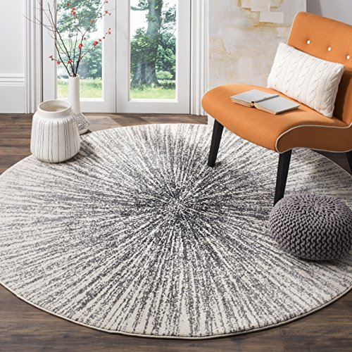 Safavieh Evoke Collection EVK228K Contemporary Burst Black and Ivory Round Area Rug (6'7