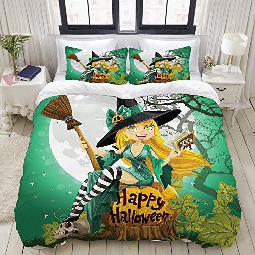 VAMIX Cheerful Smiling Girl in Halloween Costume on a Pumpkin Giant Moon Woodland College Dorm Room Decor Decorative Custom Design 3 PC Duvet Cover Set Full]()
