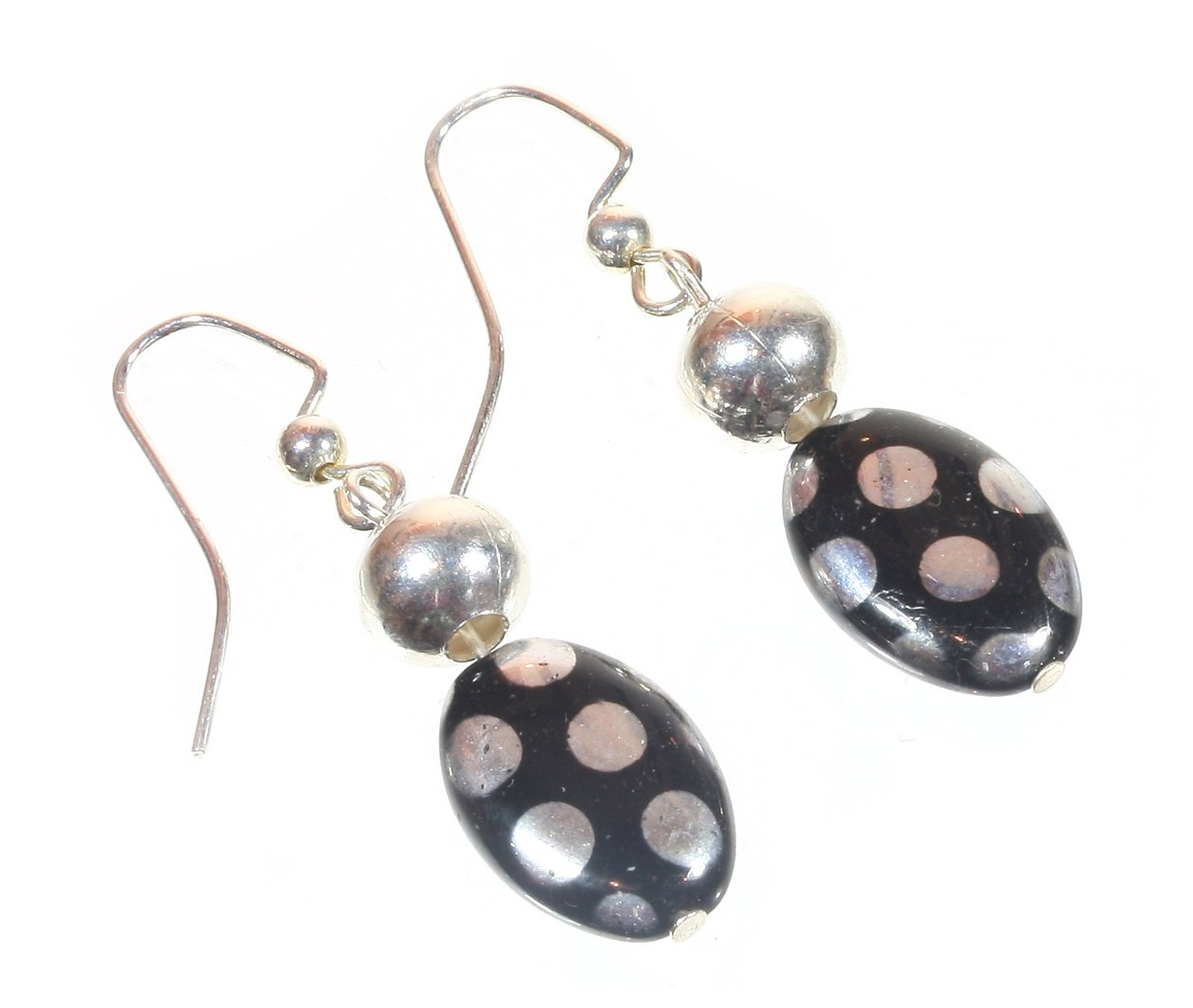 ''Ready to Dance'' Black and Silvertone Glass Bead Earrings, on French-wires, 2.0 Inches