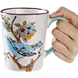 Riimax Chinese Flowers Exotic Coffee Cup Tea Mugs 15oz 4inch (White)