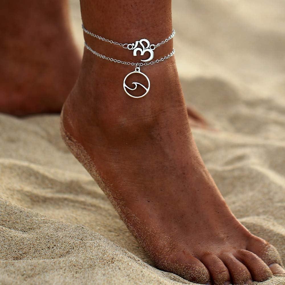 Colgante de Ola de mar Bohemio de m/últiples Capas para Mujer Tobillera Cadena de pie Pulsera de Tobillo Sandalia de Playa Joyer/ía descalza Ogquaton Tobilleras