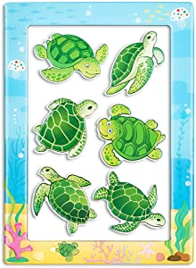Morcart Turtle Magnets And 4x6 Inches Magnetic Photo Frames 2 in 1 Sea Life Fridge Magnet Set Decoration for Refrigerator Lockers Classroom Office,Best Gift Choice (7 PCS)