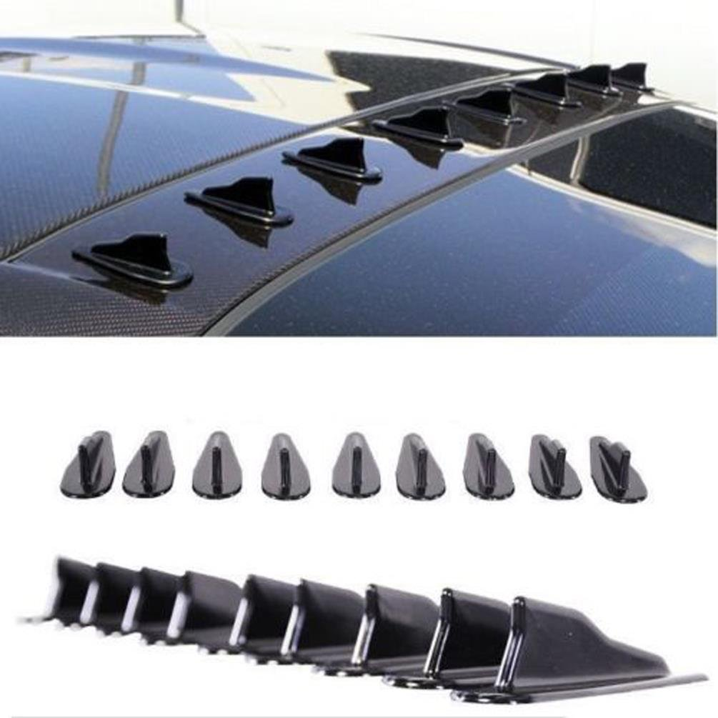 CosCosX 10 Pcs Mini Shark Fin Diffuser Vortex Generator Universal Car Truck SUV Roof Decoration Spoiler Wing Carbon Fiber Car Accessories New Style 2.95inch, Carbon Dream-Wonderland
