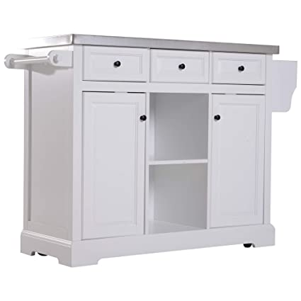 HOMCOM 51u0026quot; L Wood Stainless Steel Portable Rolling Kitchen Island Cart  With Wheels   White