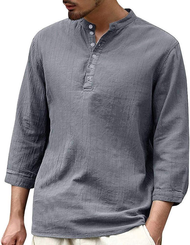 Onsoyours Uomo T Shirt Autunno Casual Stile retr/ò Elegante Camicie Cotone e Lino Traspirante Camicie Tops Spiaggia