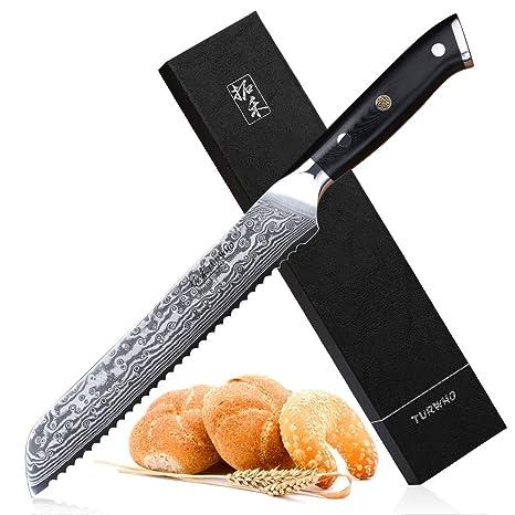 Amazon.com: TURWH - Cuchillo de pan con borde serrado, acero ...