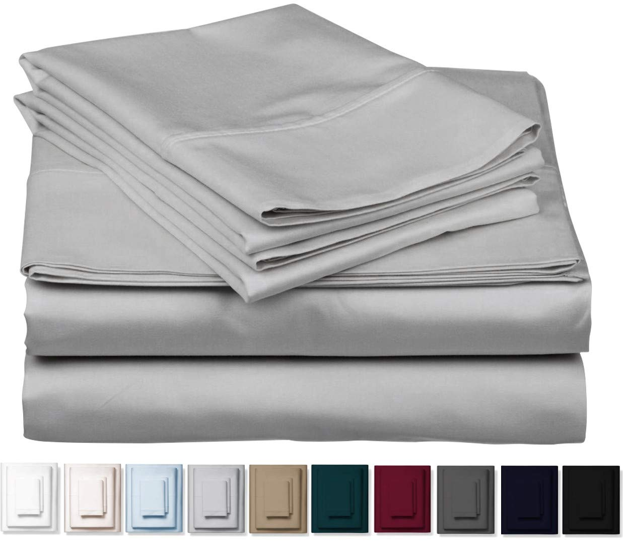 Kemberly Home Collection 1000 Thread Count 100% Pure Egyptian Cotton - Sateen Weave Premium Bed Sheets, 4 -Piece Silver Queen-Size Luxury Sheet Set, Fits Mattress Upto 18'' deep Pocket