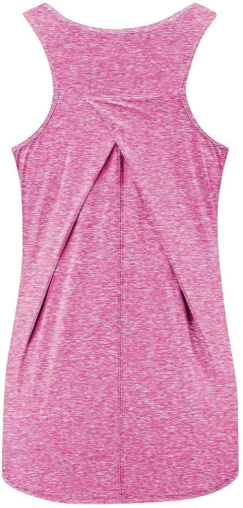 Kolila Workout Tanktops f/ür Frauen Fitness Atmungsaktiv Komfort Sportlich Yoga Tops Damen /Ärmellos Racerback Sports Shirts
