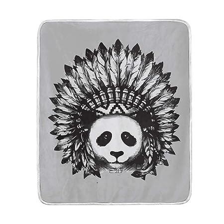 LIUBT - Manta Suave y cálida con diseño de Panda con Tatuaje Indio ...