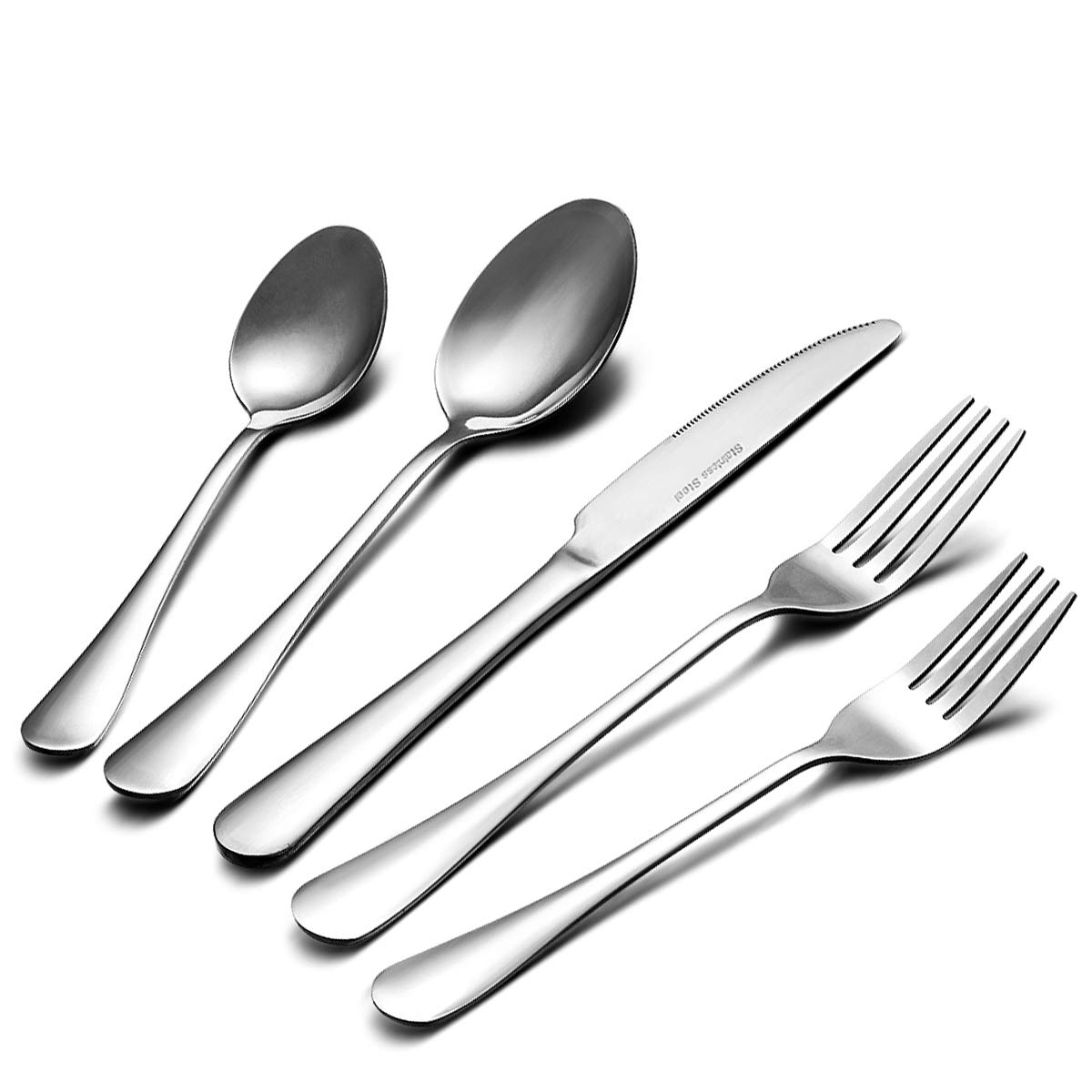 20 Piece Flatware Silverware Set, Fine Cutlery Sets Stainless Steel Mirror Polished with Knives, Forks and Spoons for Dessert & Dinner, Umite Chef Modern Eating Utensils Silverware Service for 4