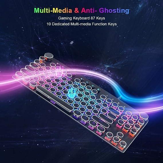 Teclado mecánico Stoga, teclado de ordenador antifantasma, USB 2.0 con cable retro para juegos con 87 teclas, retroiluminación LED RGB, 18 modos de ...