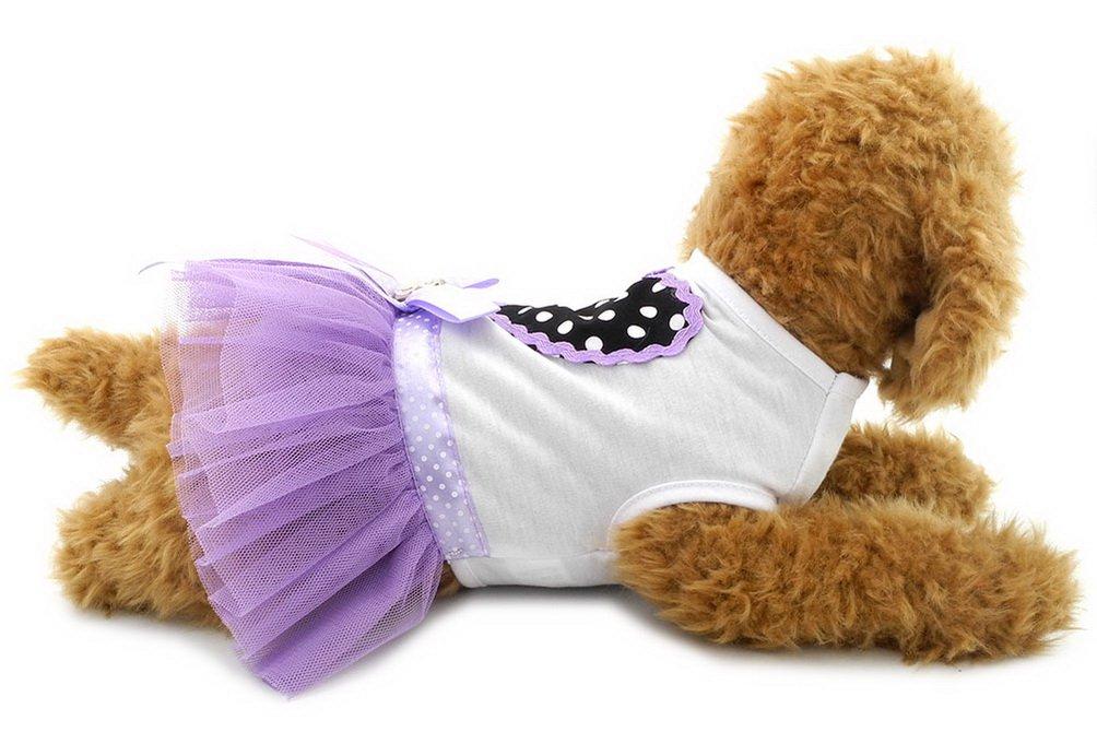 SELMAI Girl Dog Tutu Dress Heart Puppy Tee Shirts Princess Doggie T Shirts Small Dog Chihuahua Summer Clothes Purple XL