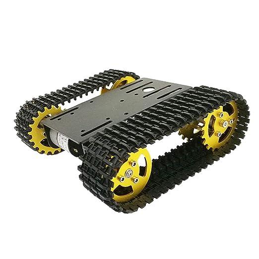 FLAMEER Inteligente Tanque Robótico Chasis con Orugas con Motor Dual de 12V CC Juguete Accesorios de Ciencia - Negro