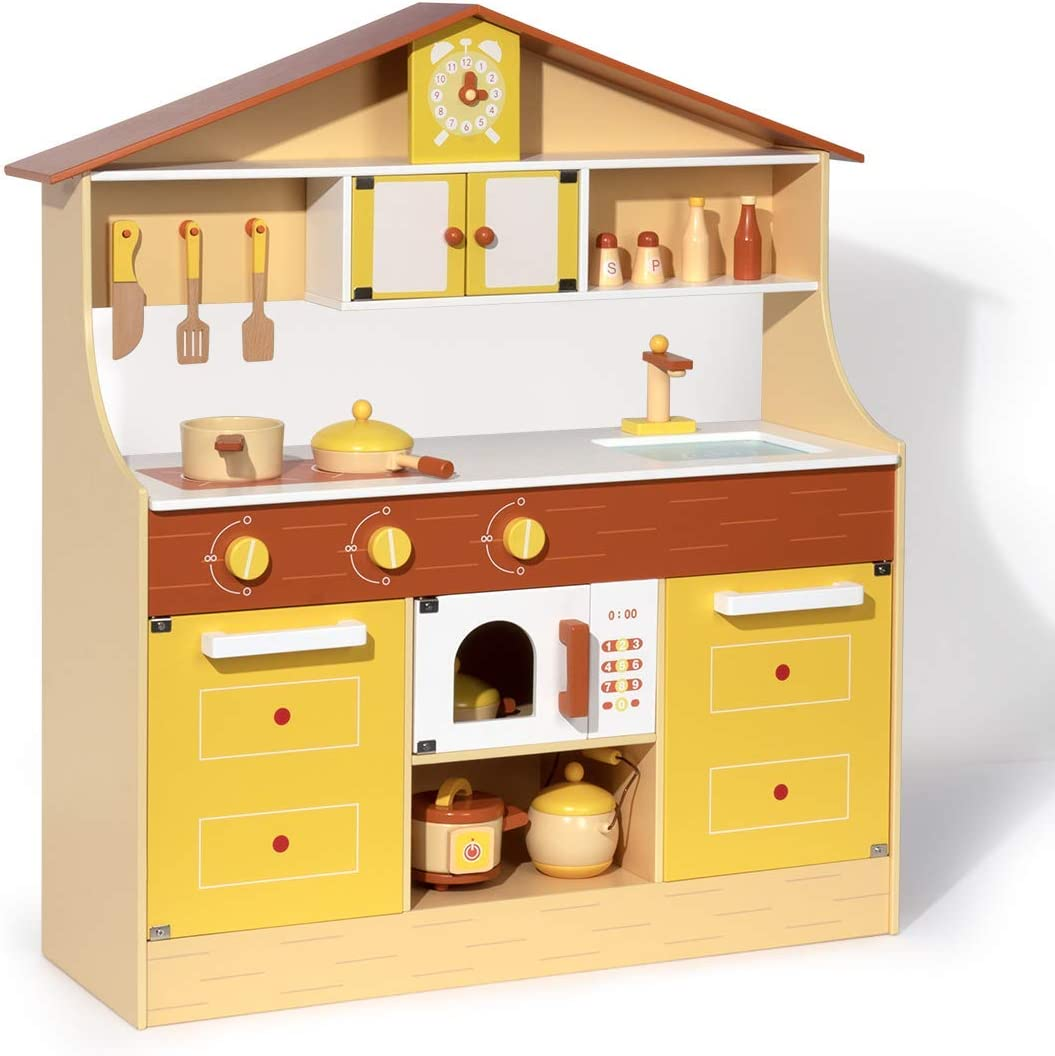 Amazon Com Robud Wooden Play Kitchen Set For Kids Toddlers Pretend Play Toy Gift For Girls Boys Aged 3 Years Old And Up Toys Games