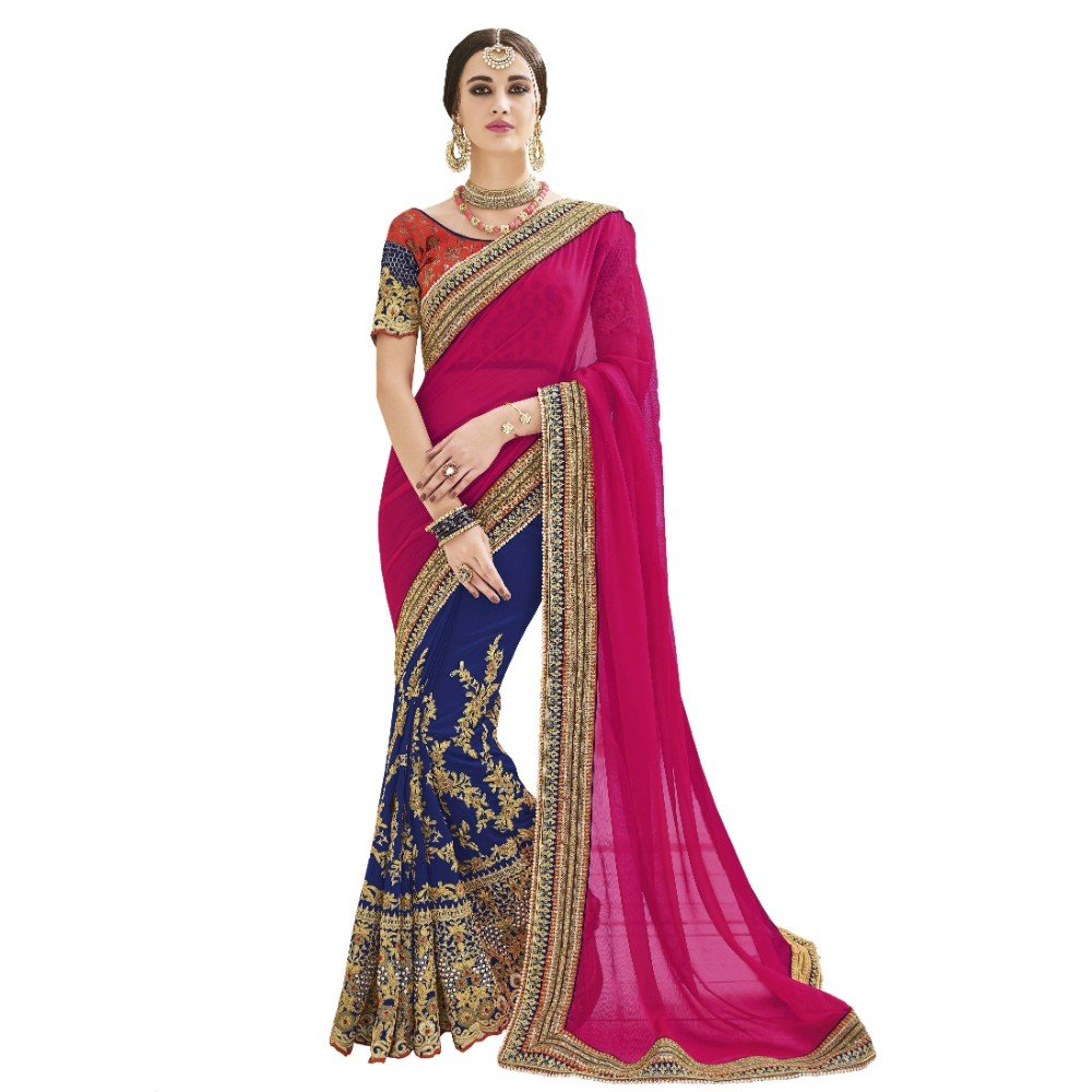 Pyxbe Fancy Women`S Party Wear Georgette And Silk Saree With Unstitched Blouse Piece Matiral